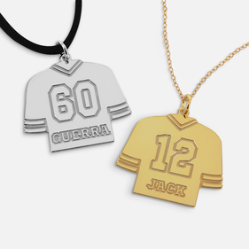 Personalized Sterling Silver Jersey Hockey Necklace