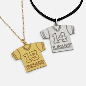 Personalized Sterling Silver Jersey Necklace with Name and  Number
