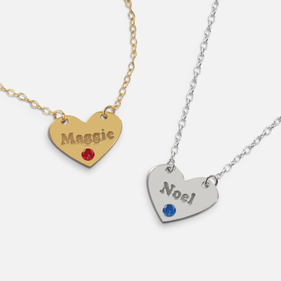 Personalized Sterling Silver Heart Name Necklace with Swarovski Birthstones