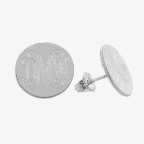 Personalized Sterling Silver Monogram Stud Earrings
