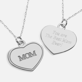 Personalized w/ Secret Message Sterling Silver Mother's Heart Necklace