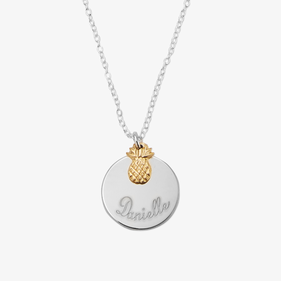 Personalized Sterling Silver Necklace with Name Disk and Pineapple