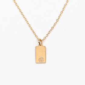 Personalized Sterling Silver Rectangle Initial Necklace