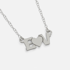 Personalized Sterling Silver Two Initials Necklace with Heart