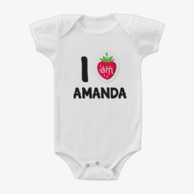 Personalized Strawberry One-Piece Baby Bodysuit
