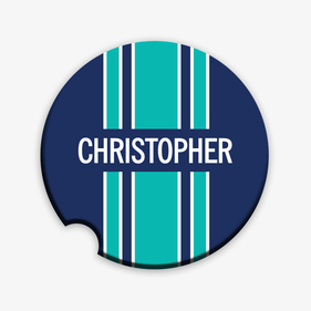 Personalized Stripe Car Coaster