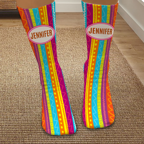 Exclusive Sale - Personalized Striped Colorful Bright Tube Socks
