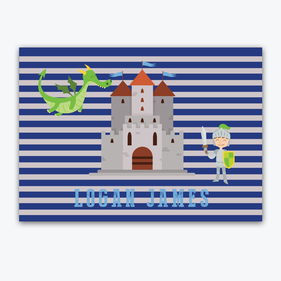 Flash Sale - Personalized Striped Knights and Dragons Placemat