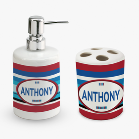 Personalized Striped Soap Dispenser and Toothbrush Holder Set