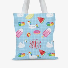 Personalized Summer Fun Monogram Tote Bag