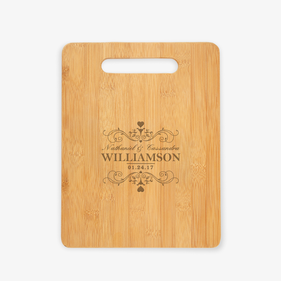 Personalized Swirls and Hearts Cutting Board