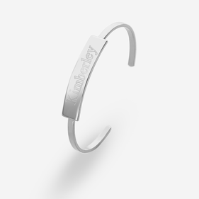 Silver Tone Personalized Tab Cuff Bracelet