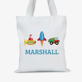 Personalized Transportation Kids Tote Bag