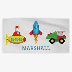 Personalized Transportation Kids Towel