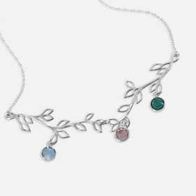 Personalized Tree Branch Swarovski  Birthstone Necklace