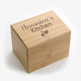 Personalized Triple Heart Name Recipe Box