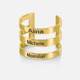 Sterling Silver Personalized w/ Names Triple Strap Ring