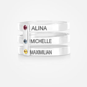 Sterling Silver Personalized w/ Names Triple Strap Ring with Birthstones