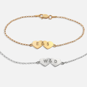 Personalized Two Hearts Bracelet