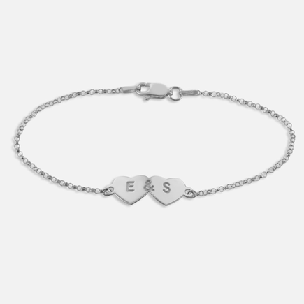 Personalized Two Hearts Bracelet in Sterling Silver