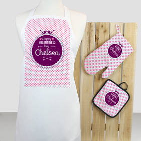 Exclusive Sale - Personalized Valentine's Red Heart 3-Piece Apron, Potholder and Mitt Set