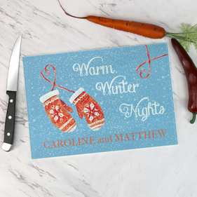 Personalized Warm Winter Nights Glass Cutting Board