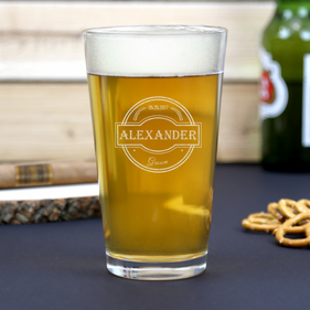 Personalized Wedding Party Beer Pint Glass