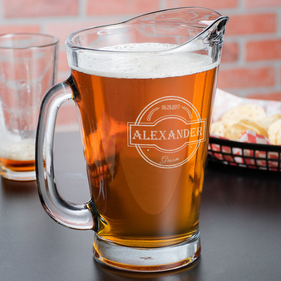 Personalized Wedding Party Glass Beer Pitcher