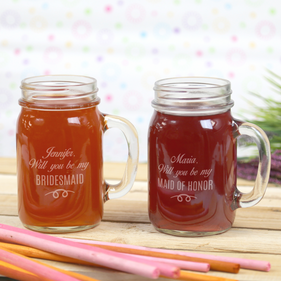 Personalized Wedding Party Mason Glass Jar