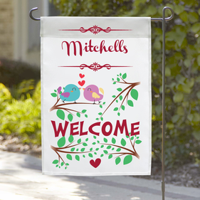 Personalized Love Birds Welcome Garden Flag