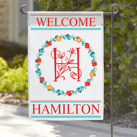 Personalized Welcome Initial Wreath Garden Flag