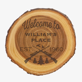 "Personalized Welcome Old West Log 7"" Plaque Sign"