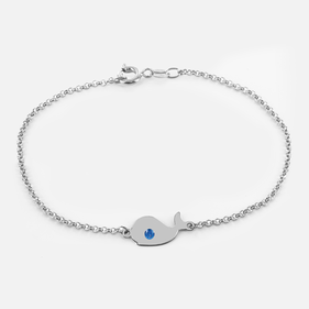 Mini Whale Animal Bracelet in Sterling Silver Personalized with Swarovski Birthstones