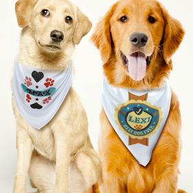 Personalized White Dog Bandana