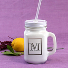 Personalized White Glass Mason Jars with White Lid and Straws