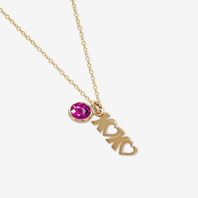 Personalized XOXO Birthstone Necklace