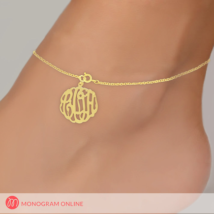 Personalized Yellow Gold or Rose Gold over Sterling Silver Monogram Anklet