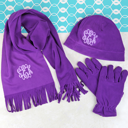 Personalized Microfleece Hat,Gloves & Scarf Set