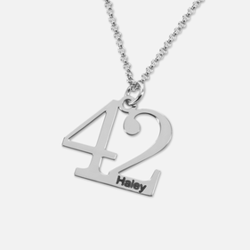 Sterling Silver Personalized Sports Fan Numbers Pendant