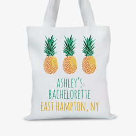 Pineapples Personalized Tote Bag