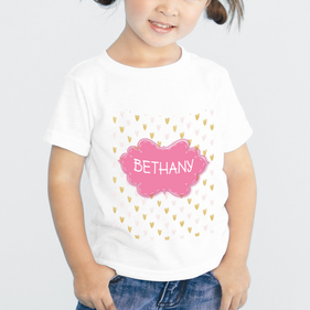 Pink Hearts Custom T-Shirt for Girls