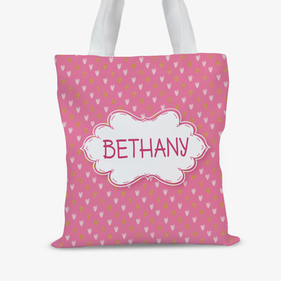 Pink Hearts Personalized Kids Tote Bag