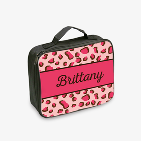 Pink Leopard Spots Personalized Lunch Tote