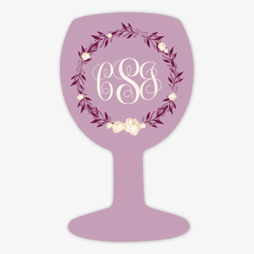 Pink Monogram Wine Glass Magnet