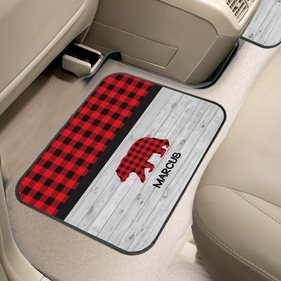 Plaid Bear Custom Back Car Mat