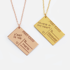 Message on Postcard Necklace Personalized w/ Name in Sterling Silver