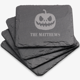 Pumpkin Head Custom Square Slate Coasters