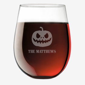 Pumpkin Head Personalized Stemless Wine Glass