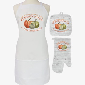 Pumpkin Patch Personalized 3-Piece Apron, Potholder and Oven Mitt Set
