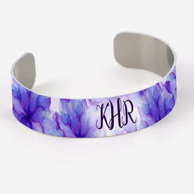 Purple Flower Monogram Aluminum Cuff Bracelet